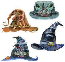 Set Of Halloween Hats Isolated, Watercolor Painting On White Background