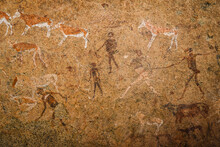 The White Lady Of Brandberg Cave Painting Located At The Foot Of Brandberg Mountain In Damaraland, Namibia, Africa.
