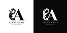Initial A Letter Luxury Beauty Flourishes Ornament Monogram Logo