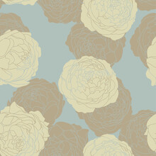 Seamless Vector Floral Wallpaper. Decorative Vintage Pattern In Classic Style With Flowers. Two Tone Ornament With Beije Peony Silhouette On Blue Gray Background