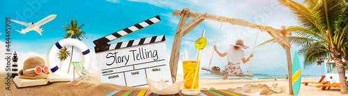 Vászonkép Story Telling, text title on film slate or movie clapper board, and women playing the swing, Panorama summer traveler background for filmmaking - live streaming concept