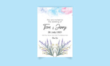Wedding Card With Watercolor Flower Design Template