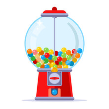 Buy Chewing Gum For A Coin In The Machine. Flat Vector Illustration.