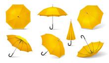 Yellow Realistic Umbrella Icon Set