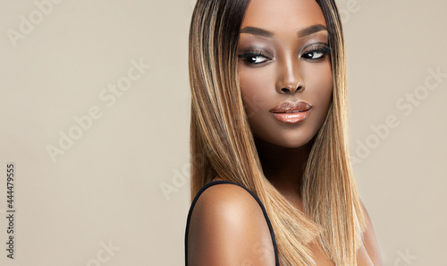Canvas Beautiful African American woman with dyed and straight hair