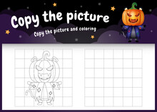 Copy The Picture Kids Game And Coloring Page With A Cute Black Cat Using Halloween Costume