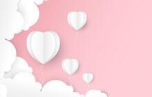 Pink Pastel Wallpaper.White Hearts Balloon Paper Cut.Valentine Concept