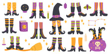 Halloween Witch Legs. Funny Witch Legs In Striped Socks And Boots, Witchcraft Cauldron And Hat Vector Symbols Set. Scary Halloween Witch Legs