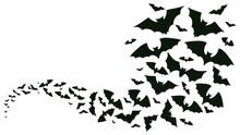 Flying Halloween Bats Silhouettes. Bats Flock Flying Wave, Vampire Flying Winged Spooky Animals Vector Background Illustration. Creepy Halloween Bats Flock