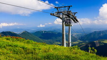 Cable Car Leading To A Green Mountain Ridge. Vratna Dolina.
