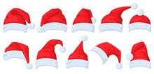 Santa Claus Hat. Cartoon Red Santa Hats, Xmas Masquerade Costume Elements Vector Illustration Set. Christmas Holiday Hats