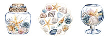 Shells In Glass Vase, Set Beach Scenery. Watercolor Starfish And Other Shells In Tropical Illustration. Isolated On White Background. Hand Drawing.