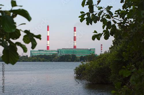 Obraz na plátně Power plant on the lake shore