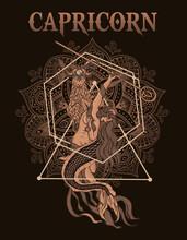 Illustration Vintage Capricorn Zodiac Symbol