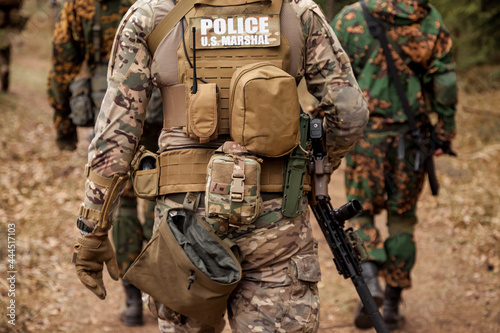Fotografiet US Army rangers in combat uniforms POLICE U