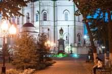 Annunciation Cathedral In Voronezh. Monument To St. Mitrofan. Russia September 2020
