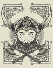 Illustration Viking Head With Two Ax Monochrome Style