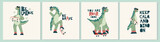 Fototapeta Dinusie - Set of dinosaur Dino cards. Childish card or poster with cute baby dino character with skateboard. Funny phrase, lettering quote. Scandinavian style collection of dinosaur isolated on white background