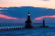 St Joseph North Pier Inner Lighthouse At Lake Michigan