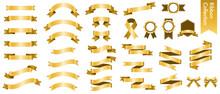 金色のリボンのベクターイラストセット(xmas,X'mas,クリスマス,グラデーション,立体,バレンタイン,ホワイトデー)
