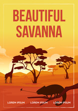 Beautiful Savanna Poster Flat Vector Template. Wildlife Experiences On Vacation. Brochure, Booklet One Page Concept Design With Cartoon Landscape. Love For Africa Flyer, Leaflet With Copy Space
