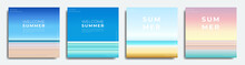 Abstract Summer Background Bundle, Gradient With Summer, Beach, Sea Colors