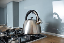 Kettle On A Gas Stove. Teapot
