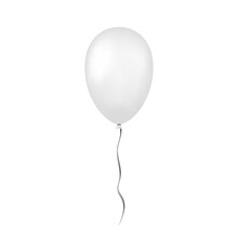 Balloon 3D Icon, Isolated On White Background. Baloon Mockup For Halloween Party Celebration. Realistic Silver Design. Helium Gift Ballon With Ribbon. Glossy Decoration. Vector Illustration
