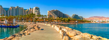 Panoramic View From Central Stone Walking Pier And Promenade In Eilat - Famous Tourist Resort City In Israel