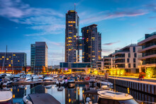 Panorama Of The Marina In Gdynia With Modern Architecture At Dusk. Poland