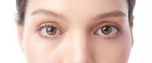 Eyes. Close Up Of Beautiful Young Asian Woman With Brown Eyes On White Background,
