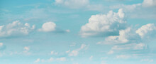 Wide Web Banner With Beautiful Bright Blue Sky With Fluffy Clouds For Any Text