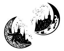 Fairy Tale Medieval Castle On A Crescent Moon - Night Time Fantasy Architecture Black And White Vector Silhouette Design