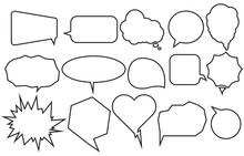 Set Speech Bubbles Various Shapes On White Background. Chat Box Or Chat Vector Doodle Message Or Communication Icon Cloud Speaking For Comics And Comics Message Dialog