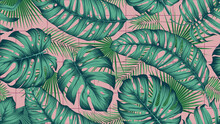 Seamless Colored Pattern With Exotic Tropical Leaves On Pink Square Tiles Background, Botany Composition In Trendy Contemporary, Vector Illustration