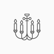 Chandelier Icon, Candelabrum Vector,  Light Illustration