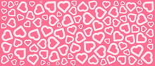 Abstract White Hearts Shape On Red Background
