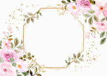 Wedding Invitation Flower Background With Watercolor
