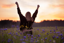 Young Woman In A Black Jacket Walks In A Cornflower Field At Sunset. Amazing Summer Landscape In Belarus. Beautiful Orange Sunset Over Blue Wildflowers Meadow. Girl Run In The Field With Her Hands Up.