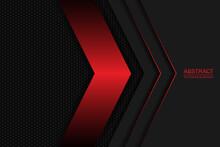 Black And Red Arrows On A Dark Carbon Mesh. Black Carbon Fiber Hexagon Texture.