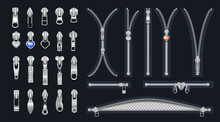 Zip Fasteners With Sliders And Decor Vector