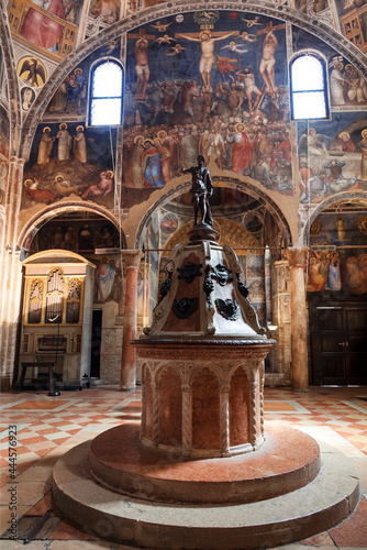 Fotografering The interior of the baptistery dedicated to Saint John the Baptist with a baptismal font in the center