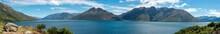 Beautiful Panoramic View Of Lake Wakatipu In Summer, New Zealand