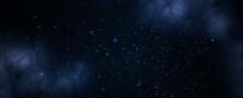Background Nebula Of Abstract Glitter Lights. Dark Blue Banner