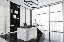 Black, White Interior With Office Corner, Panoramic Windows, Round Chandelier