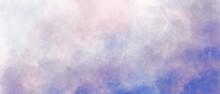 Blue Purple Orange Sky Gradient Watercolor Background With Clouds Texture