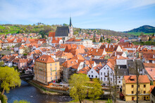 Panoramic View Of Cesky Krumlov And River Vltava In The South Bohemian Region, Czech Republic.
