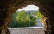 widok z okna w ruinach zamku w Świeciu