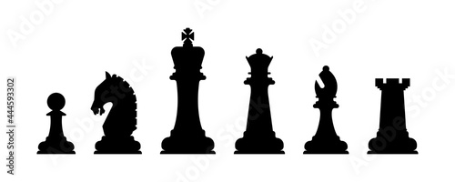 Foto Vector Set of Black Chess Silhouette