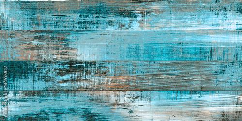 Fotografia cyan multi color wooden planks panted rough wood texture aqua  turquoise  blue u